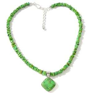 Jay King Green Turquoise Pendant with Beaded Necklace