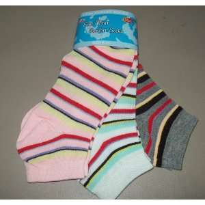 3 PAIRS WOMENS STRIPE ANKLE SOCKS