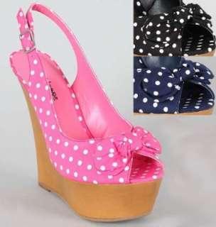 White Polka Dot Slingback Wedge Pink Navy or Black Shoes