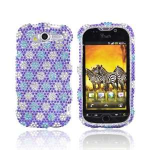 BLUE PURPLE SILVER Bling Hard Case For HTC MyTouch 4G