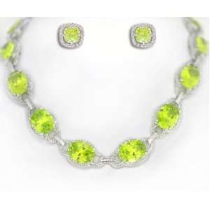 Silver Tone Prom, Bridal Necklace with Earring Set Green Peridot