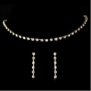 Bridal Jewelry Set Crystal Rhinestone Choker Gold 1 Row Jewelry