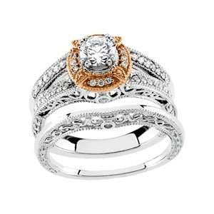 and Rose Gold Bridal Engagement Ring Semi Mount (Part of Bridal Set