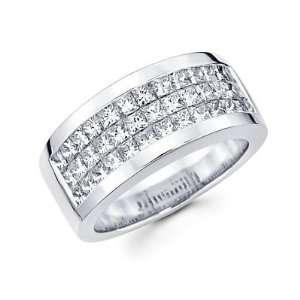 Set 14k White Gold Mens Diamond Wedding Ring Band 2.85 ct (G H, I1