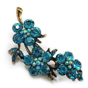 Swarovski Crystal Floral Brooch (Antique Gold & Green Teal) Jewelry