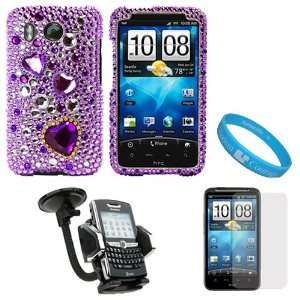 Heart Rhinestone Diamante Crystal Hard Case Cover for HTC Inspire