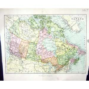CHAMBERS ANTIQUE MAP c1906 CANADA HUDSON BAY NEWFOUNDLAND