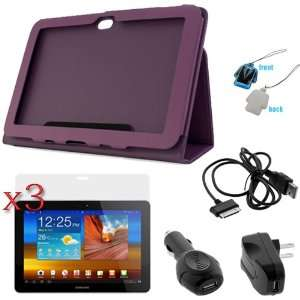 GTMax Purple Folio Leather Protector Cover Case with Stand