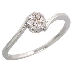 14k White Gold Fancy Cluster Diamond Ring, w/ 0.11 Carat Brilliant Cut