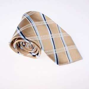 Khaki Checkers Woven Silk Tie Gift Box Set Blue Valentines
