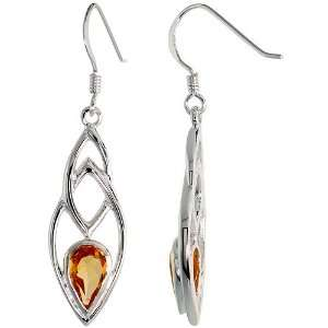 Dangle Earrings, w/ Pear Cut Natural Citrine Stones, 1 5/8 (41mm