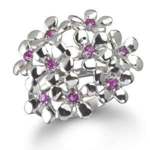SYNTHETIC RUBY CLUSTER FLOWER RING CHELINE Jewelry