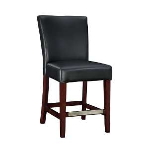 Black Bonded Leather Counter Stool, 24 Seat Height