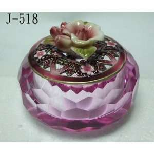 Glass Jewelry Trinket Box With Lacy Pink Crystals and Porcelain Rose