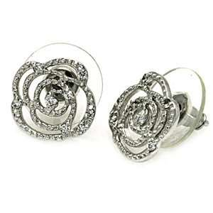 Sterling Silver Cubic Zirconia Flower Earrings (12.7mm
