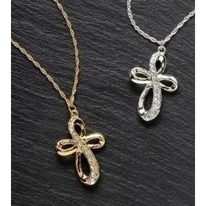 & Silver Plated Crystal Journey Cross Pendants 18