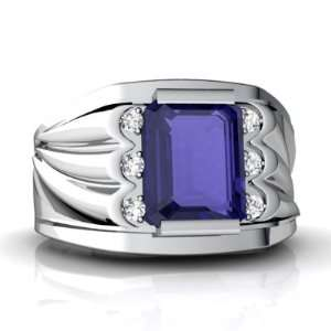 Gold Emerald cut Created Sapphire Mens Mens Ring Size 11.5 Jewelry