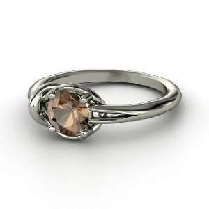 Hercules Knot Ring, Round Smoky Quartz Sterling Silver Ring Jewelry