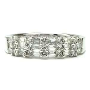 Carat Baguette&Round Diamond 14k White Gold Anniversary Wedding Ring