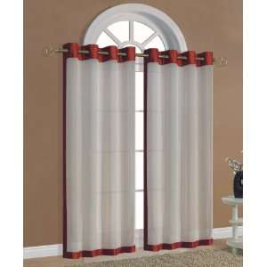 55x84 RoundAbout Red/ Natural Grommet Panel/Curtain