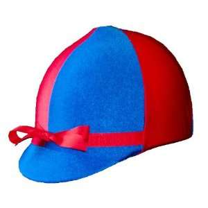 Equestrian Riding Helmet Cover   Red and Royal Blue