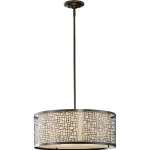 Light Pendant, Light Antique Bronze Finish with Bronze Fabric Shade