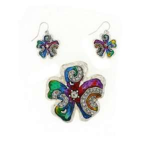 Fashion Jewelry ~ Multi Color Flower Pendant and Earrings