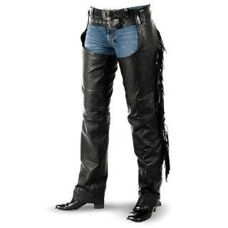 Womens Black Leather Fringe Motorcycle Chaps  Leatherbull