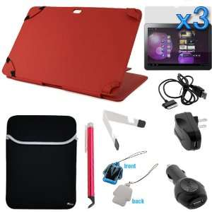 Value Accessories Bundle Red Premium Leather Carrying Cover Case Folio