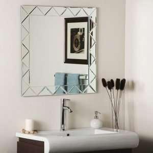 Square Zig Zag Bevel Frameless Wall Mirror
