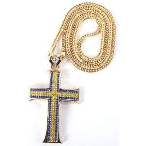 Iced Out Gold with Blue Large Two Tone Cross Pendant with