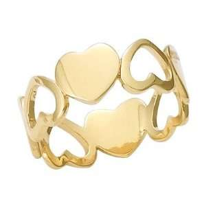 18K Gold Plated Love Hearts Band Ring   Size 7.5 Jewelry