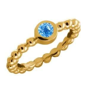 33 Ct Round Swiss Blue Topaz Gold Plated Sterling Silver Ring Jewelry