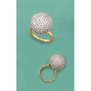 Rhodium/14K Gold Plated Sterling Silver Ball Ring, 11/16