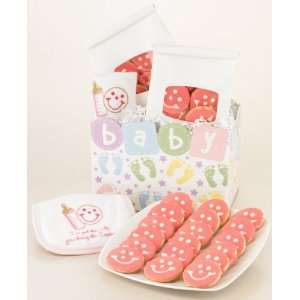 Baby Girl Gift Basket   Pink Mini Gourmet Sugar Mini Cookies and Bib