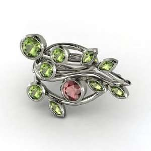 Vine Ring, Round Red Garnet Sterling Silver Ring with Green Tourmaline