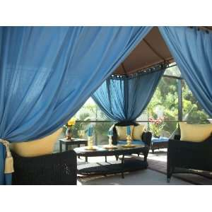 Outdoor Gazebo Patio Drapes Ocean Blue Solid 108