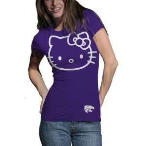 NCAA Kansas State Wildcats Hello Kitty Inverse Junior Crew Tee Shirt