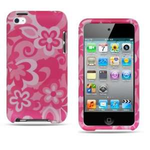 Apple Ipod Touch 4 Crystal Snap on Pink Flower Design Rubber Touch