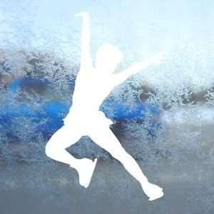 Ice Skate Skating White Decal Car Window Laptop White