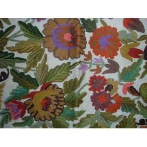 Bright Flowers Multi Chain Stitched Wool Rug(2X3FT) Furniture & Decor