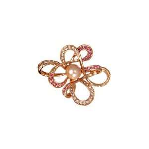 Orange Twisty Cloud Brooch with Pink and White Swarovski Crystals and