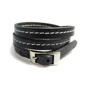 Thin Black Leather Wrap Bracelet Jewelry