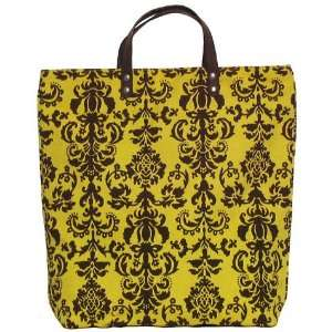 Arabesque Yellow and Black Tote Bag with Leather Handles 17Lx17H