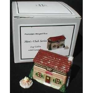 Porcelain Hinged Box (PHB)   Log Cabin with Campfire by Midwest