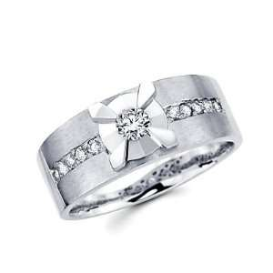 Size  9   New 14k White Gold Mens Diamond Solitaire Wedding Ring Band