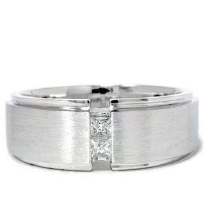 Mens Geniune Diamond Ring Solid 14K White Gold Princess Cut Diamond