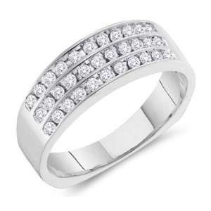 Wide Channel Set Round Cut Mens Diamond Wedding Ring Band (1/2 cttw