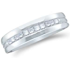 Princess Cut Mens Diamond Wedding Ring Band 6mm (1/2 cttw) Jewelry