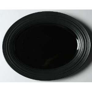 Mikasa Swirl Black Oval Serving Platter, Fine China Dinnerware
